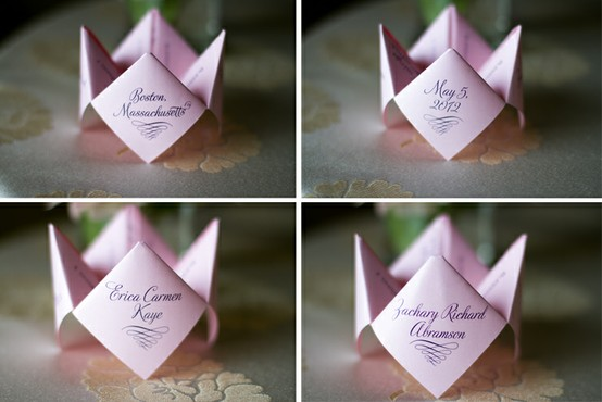 Chinese Fortune Teller for Wedding Program by In the Pink Ink Events